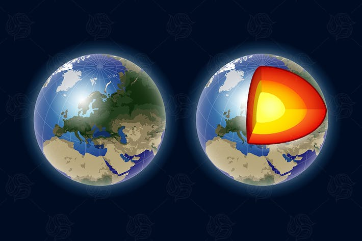 Thumbnail for Structure of the Earth core - vector clip art