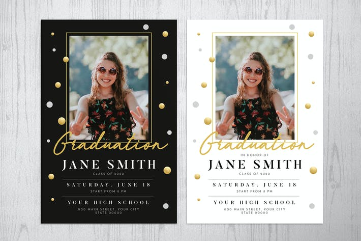 Thumbnail for Gold Graduation Invitation