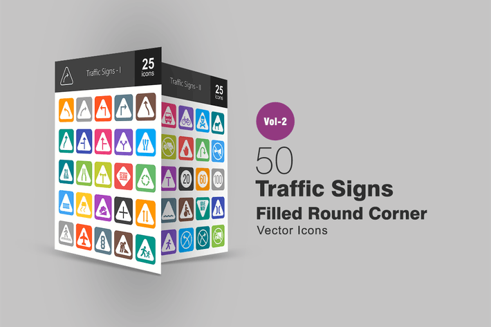 50 Traffic Signs Filled Round Corner Icons