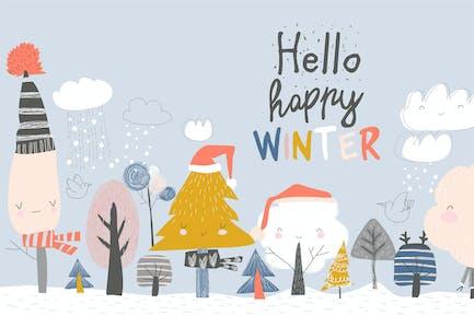 Lindos árboles de invierno. Árbol de invierno de dibujos animados en azul bac