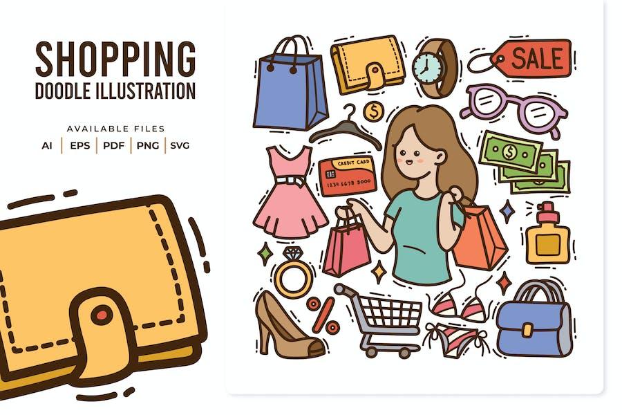 Shopping Doodle Illustration