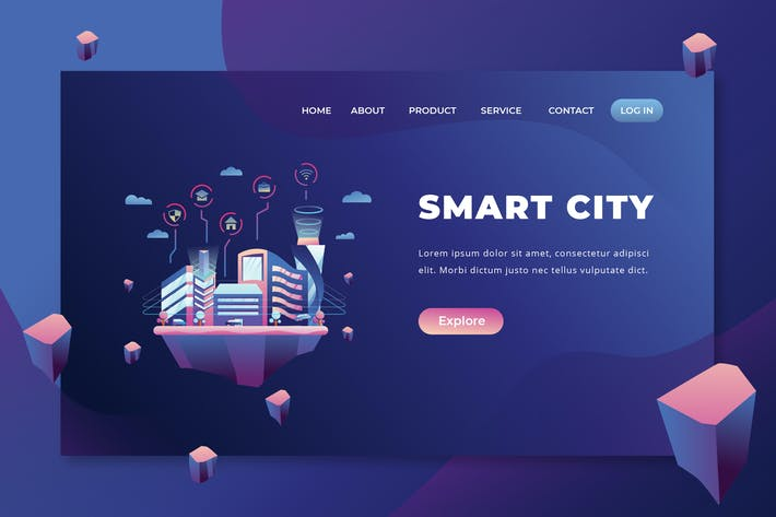 Thumbnail for Smart City - PSD and AI Vector Landing Page