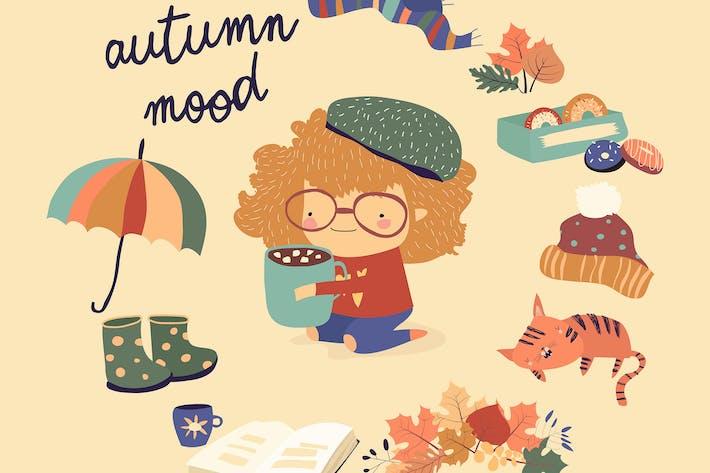 Thumbnail for Cute cartoon girl with autumn elements. Autumn moo