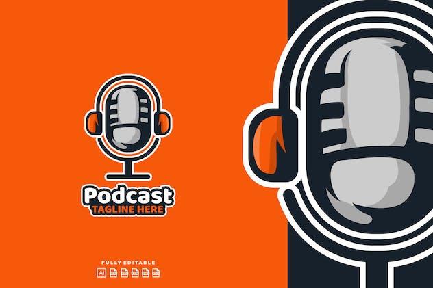 Podcast Mic Broadcast Logo