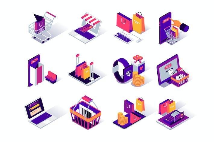 Thumbnail for Online Shopping Isometric Icons Set