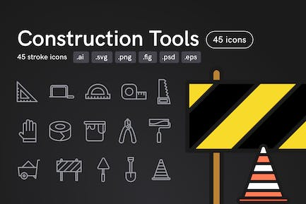 Construction Tools Icons (45 icons)