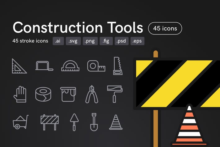 Thumbnail for Construction Tools Icons (45 icons)