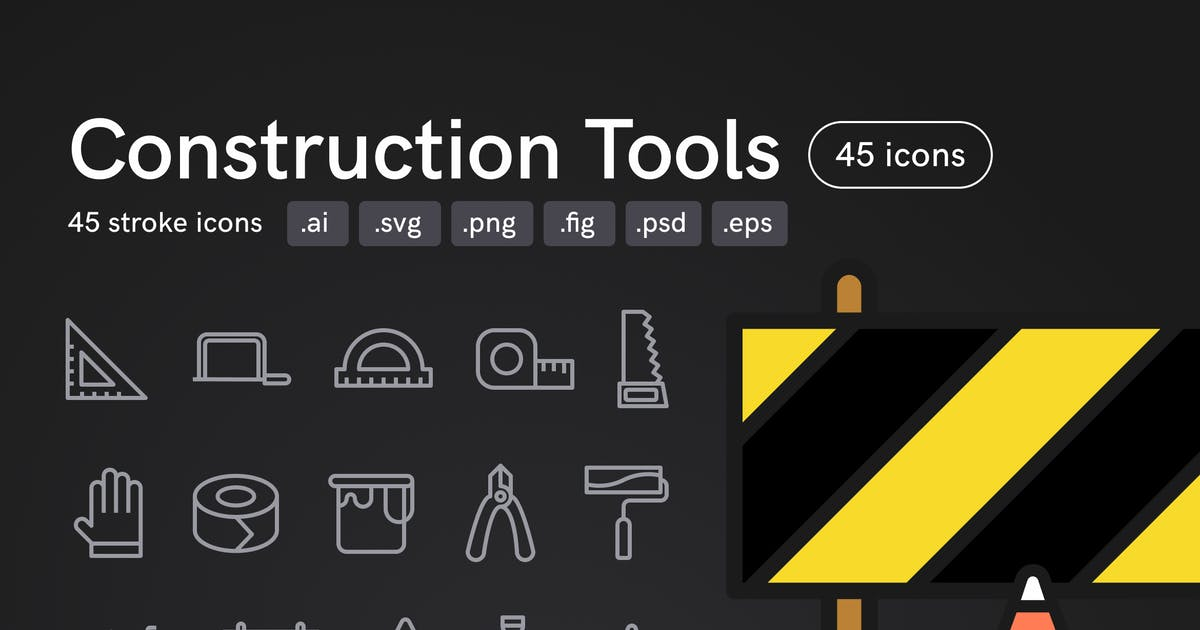 Download Construction Tools Icons (45 icons) by Middltone