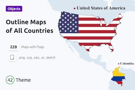 Skizzieren Sie Karten mit Nationalflaggen aller Länder