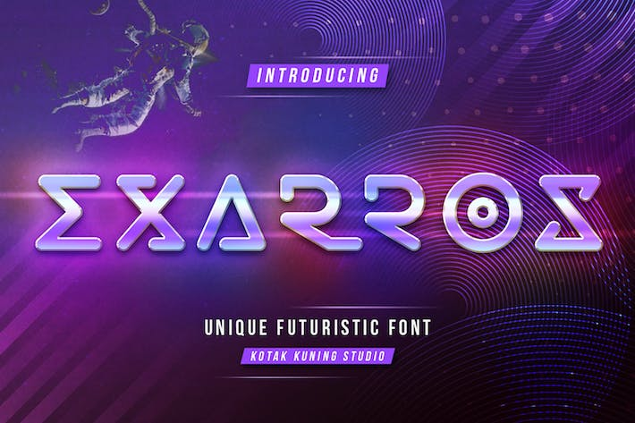 Thumbnail for Exarros - Futuristic Techno Font