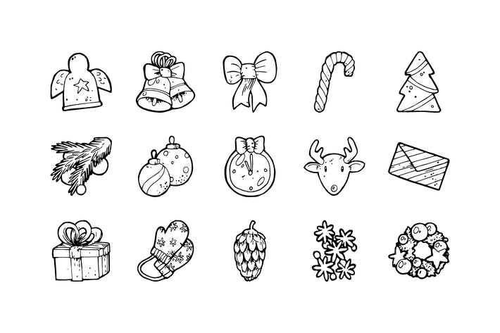 Thumbnail for 53 Christmas Hand-drawn Icons
