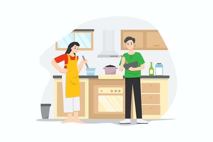 Thumbnail for Paar zusammen kochen während der Quarantänezeit