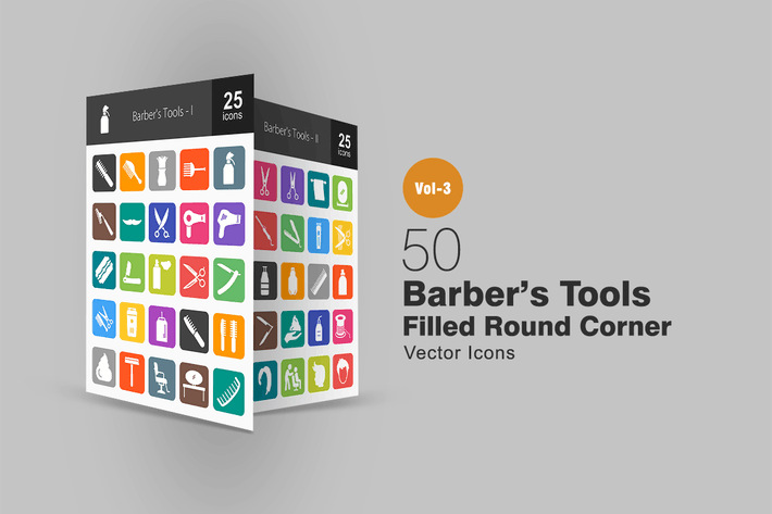 Thumbnail for 50 Barber's Tools Flat Round Corner Icons