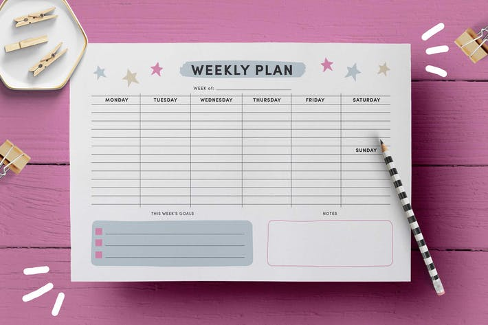Thumbnail for Weekly Planner Page Template