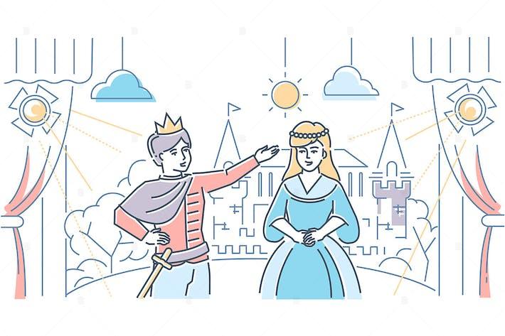 Thumbnail for Theatre school - line design style illustration