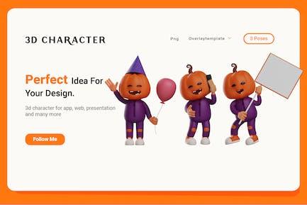 Cartoon Halloween Scarecrow 3D Character