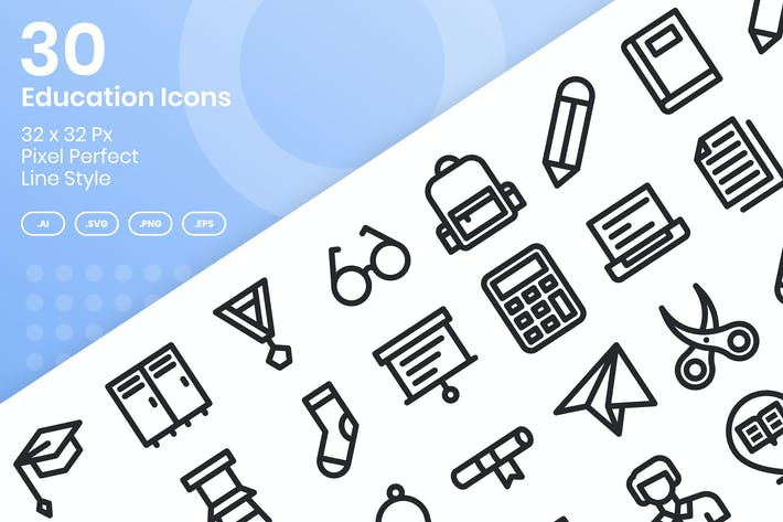 Thumbnail for 30 Education Icons Set - Line