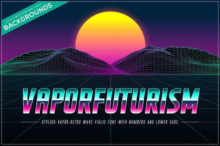 Thumbnail for Vaporfuturism OTF Retrowave Font + Backgrounds