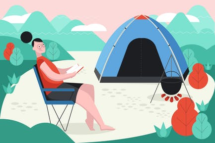 Tent Camping Outdoor Illustration