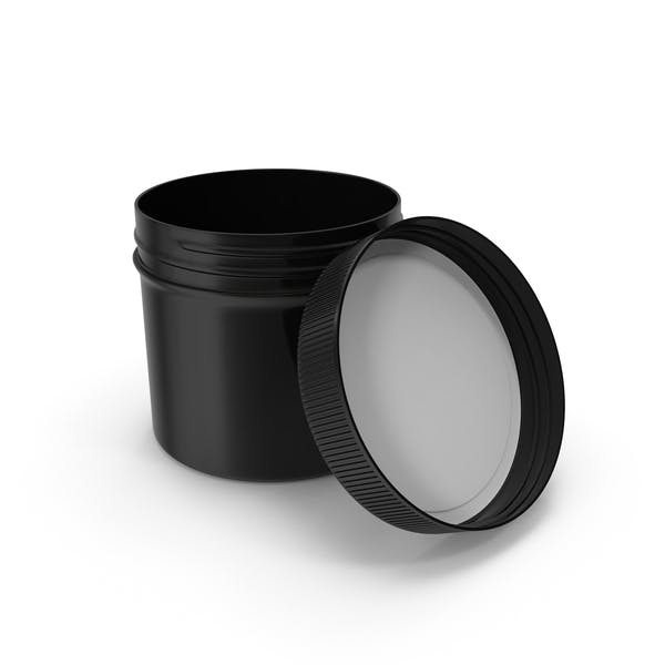 Black Plastic Jar Wide Mouth Straight Sided 4oz Open