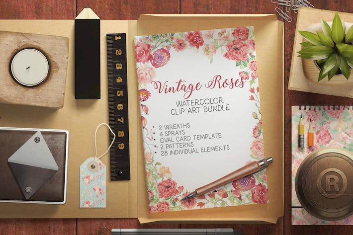 Thumbnail for Vintage Roses Watercolor Clip Art Bundle