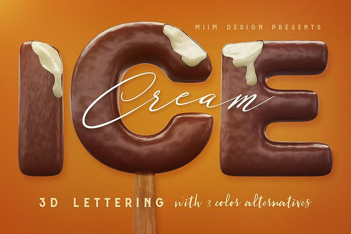 Thumbnail for Ice Cream - 3D Lettering