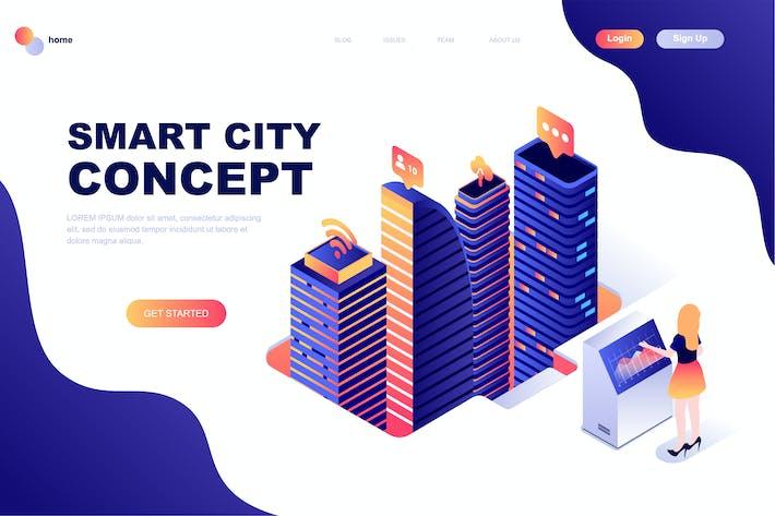 Thumbnail for Plantilla de Página de inicio isométrico de Inteligente Ciudad