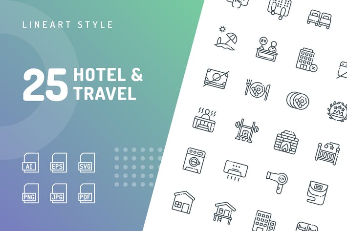 Thumbnail for Hotel & Travel Line Íconos