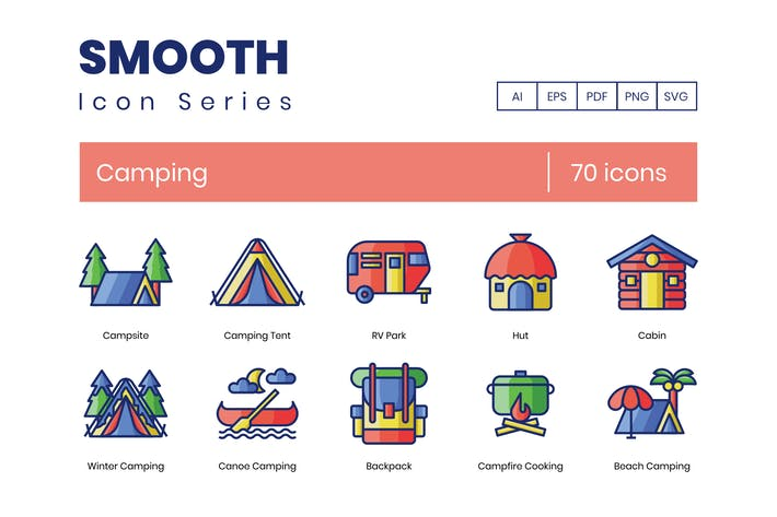 Thumbnail for 70 Camping Smooth Icons