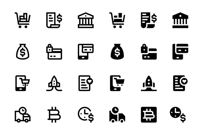 Thumbnail for 52 Finance, Business and E-commerce icons