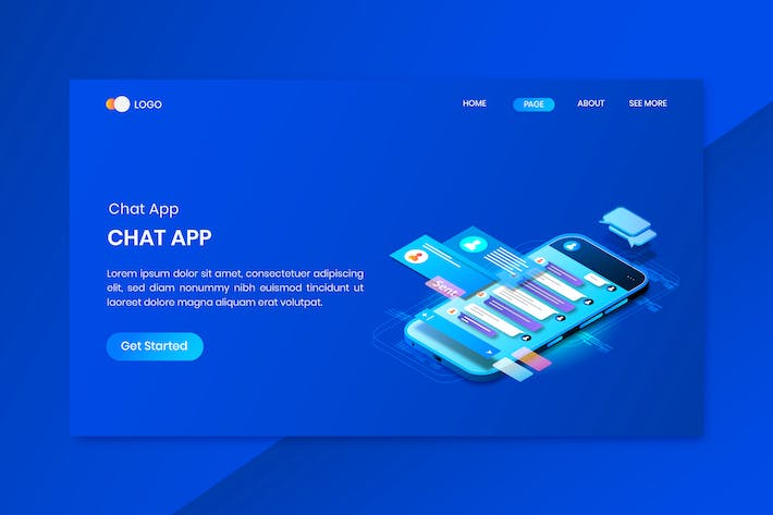 Thumbnail for Chat Messenger App Isometric Concept Landing Page