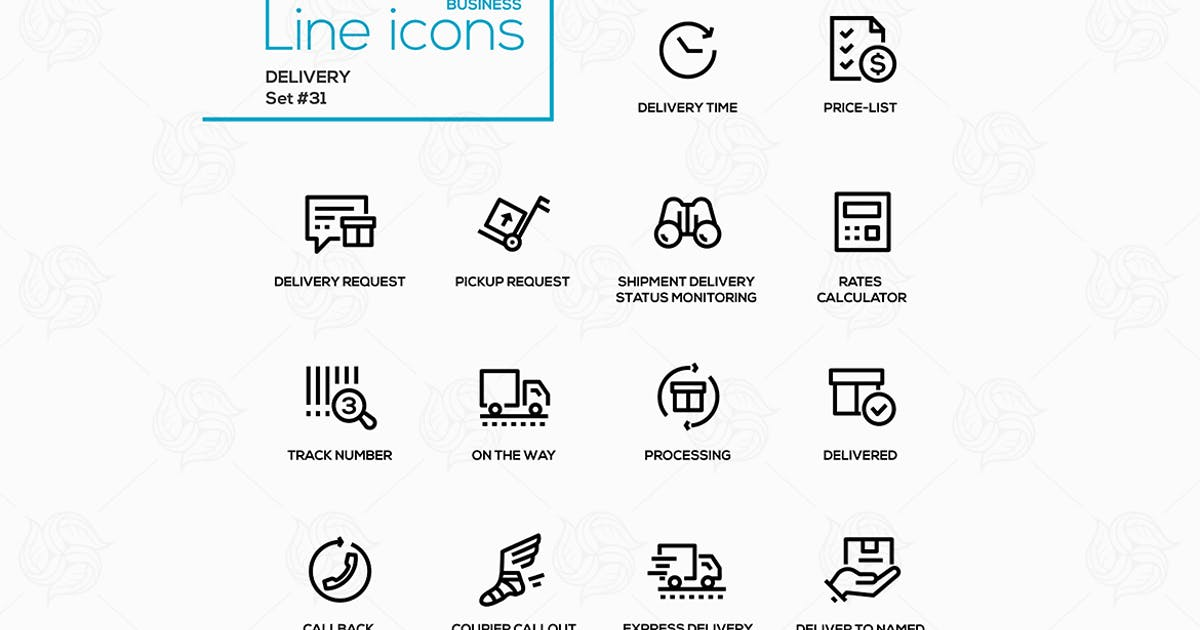 Delivery - modern vector single line icons set by BoykoPictures