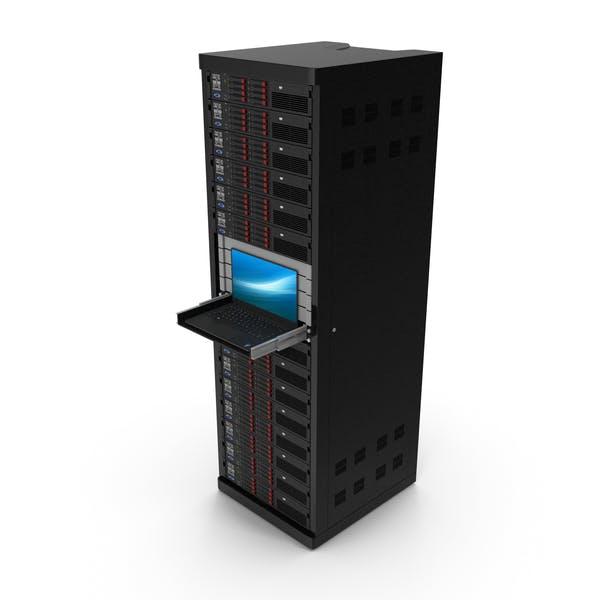 Vollständiges Server-Rack mit Laptop auf Schieberegal