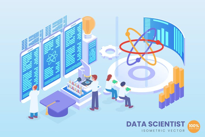 Isometric Data Scientist Vector Concept