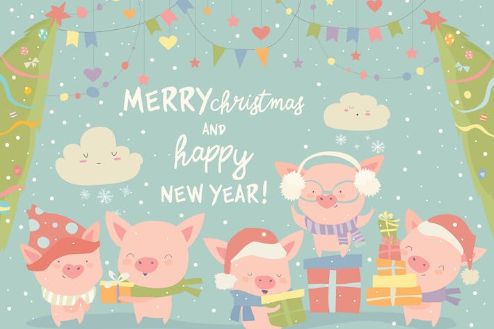 Thumbnail for Funny cartoon pigs with Christmas gifts. Vector
