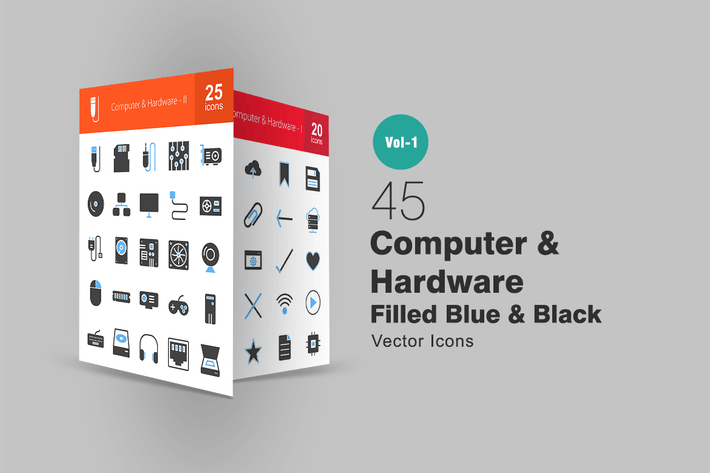 Thumbnail for 45 Computer Blue & Black Icons
