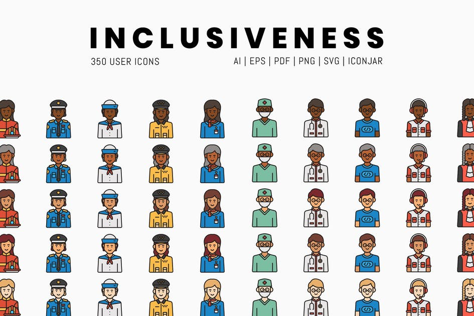 Download 350 Inclusiveness Icons by Krafted