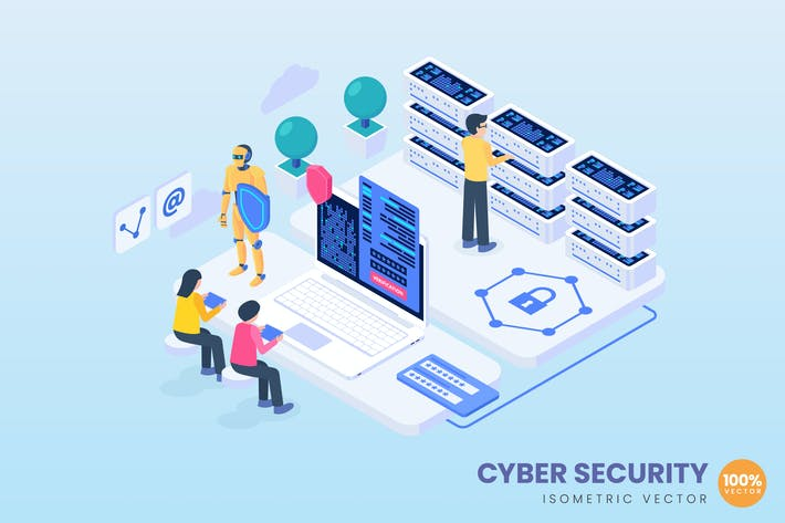Isometric Cyber Security Concept