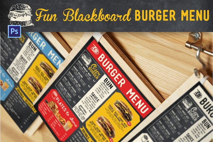 Thumbnail for Fun Blackboard Burger Menu