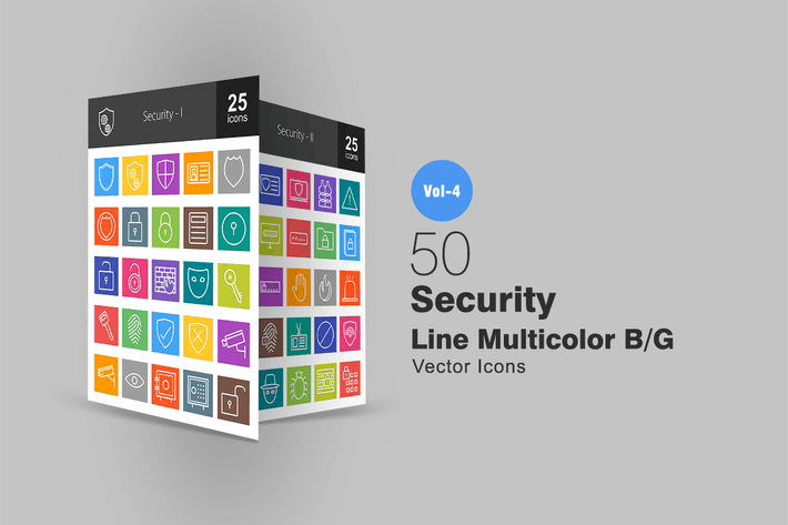 Thumbnail for 50 Security Line Multicolor Icons