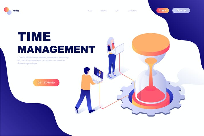 Thumbnail for Time Management Isometric Landing Page Template