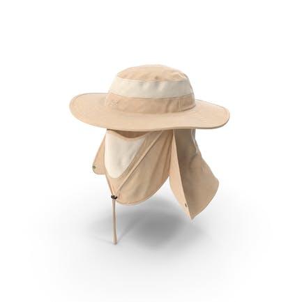 Khakifarbener Outdoor-Angelhut mit abnehmbarer Nackenklappe und Gesichtsbedeckungsmaske