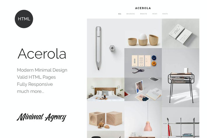 Cover Image For Acerola - Ultra Minimalist Agency HTML5 Template