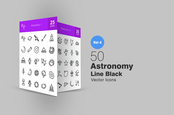 Thumbnail for 50 Astronomy Line Icons