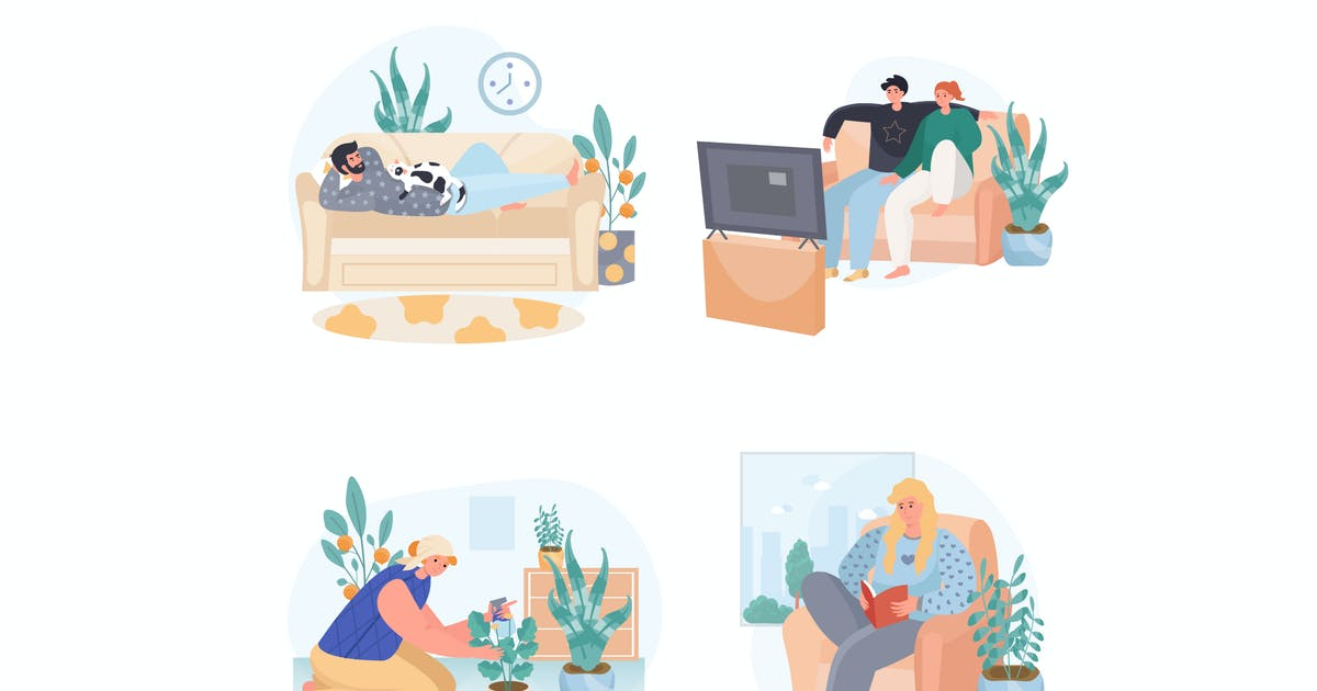 Download People Spend Weekend At Home Concept Scenes Set by DesignSells