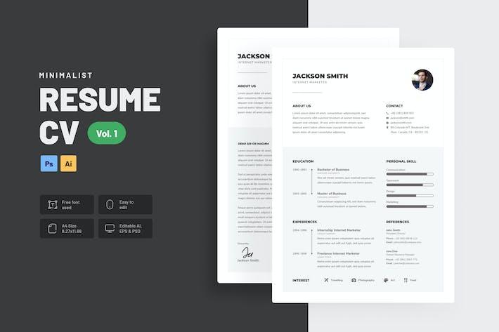 Thumbnail for Minimalist Clean CV Resume Vol. 1