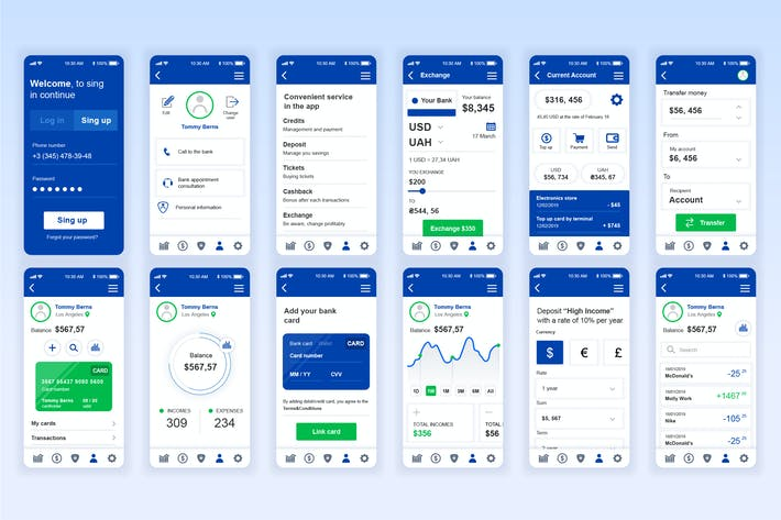 Thumbnail for Banking Mobile App UX and UI Kit
