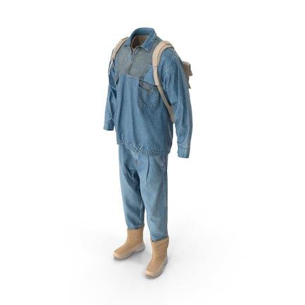 Мужские джинсы пуловер сапоги рюкзак футболка бежевый синий