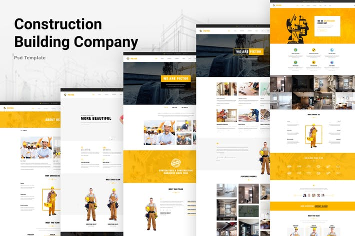 Thumbnail for Construction Building Company PSD Website Template