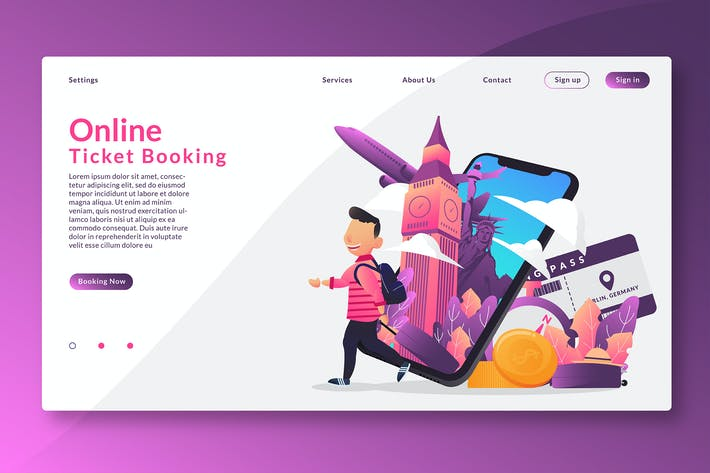 Thumbnail for Online Ticket Booking - Web Header & Vector GR